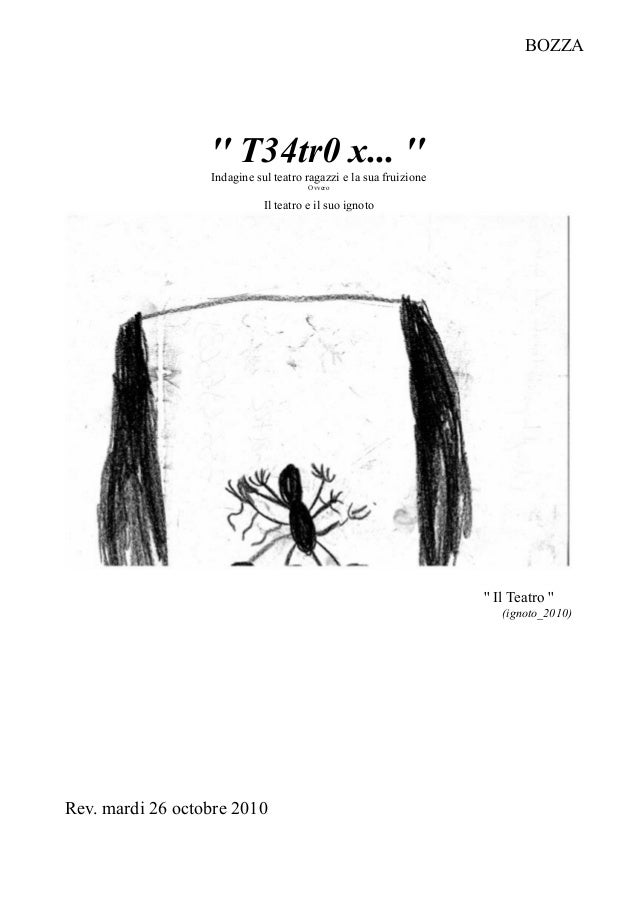 '' T34tr0 x... '' Indagine sul teatro ragazzi e la sua fruizione Ovvero Il teatro e il suo ignoto '' Il Teatro '' (ignoto_...