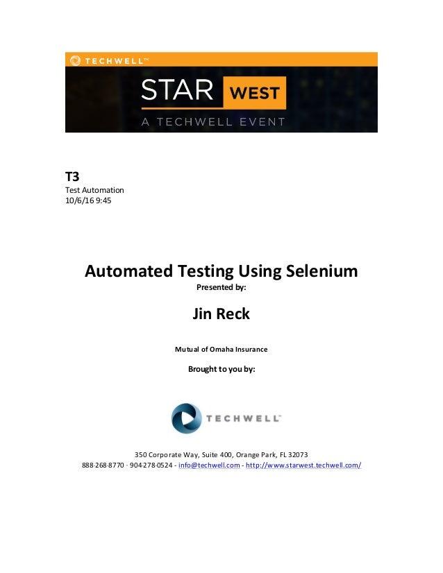 Automated Testing Using Selenium