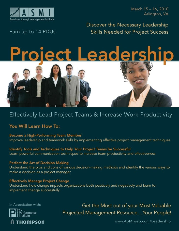 Project Leadership                                                  March 15 – 16, 2010                                   ...