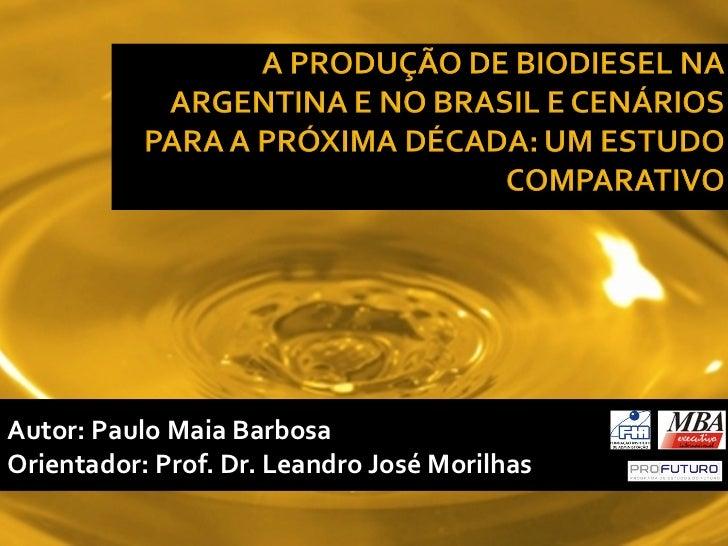 Autor: Paulo Maia BarbosaOrientador: Prof. Dr. Leandro José Morilhas
