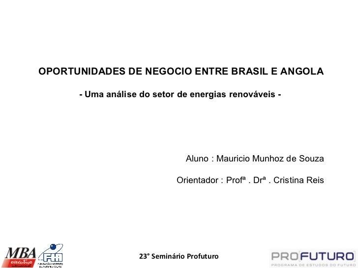 OPORTUNIDADES DE NEGOCIO ENTRE BRASIL E ANGOLA      - Uma análise do setor de energias renováveis -                       ...