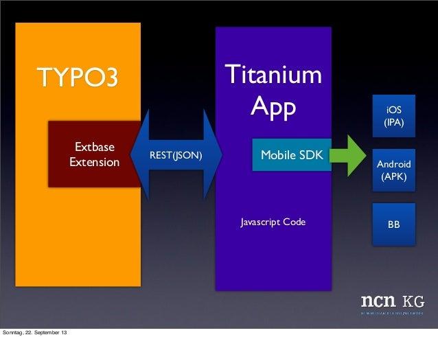 TYPO3 Titanium App Javascript Code Extbase Extension REST(JSON) iOS (IPA) Android (APK) BB Mobile SDK Sonntag, 22. Septemb...
