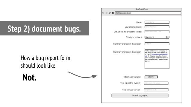 Step 2) document bugs. How a bug report form should look like. Not.