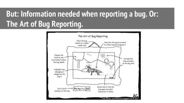 But: Information needed when reporting a bug. Or: The Art of Bug Reporting.