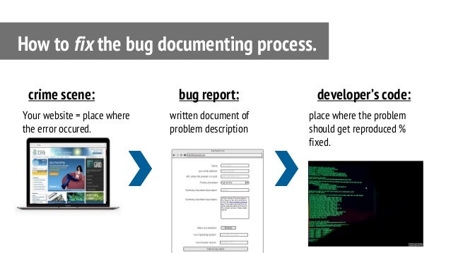 Your website = place where the error occured. How to fix the bug documenting process. crime scene: written document of pro...