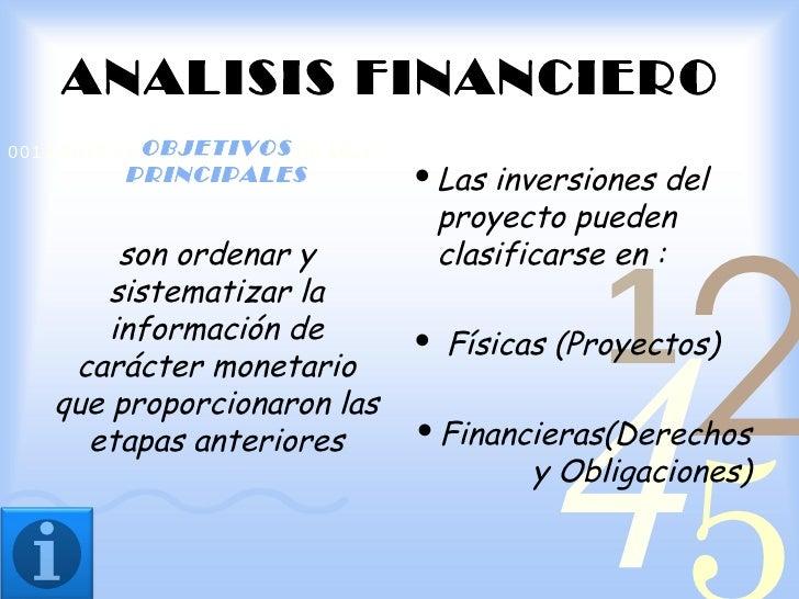 ANALISIS FINANCIERO            OBJETIVOS0011 0010 1010 1101 0001 0100 1011          PRINCIPALES                 Las inver...