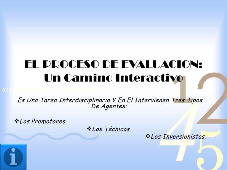 2       EL PROCESO DE EVALUACION:                                                        1          Un Camino Interactivo ...