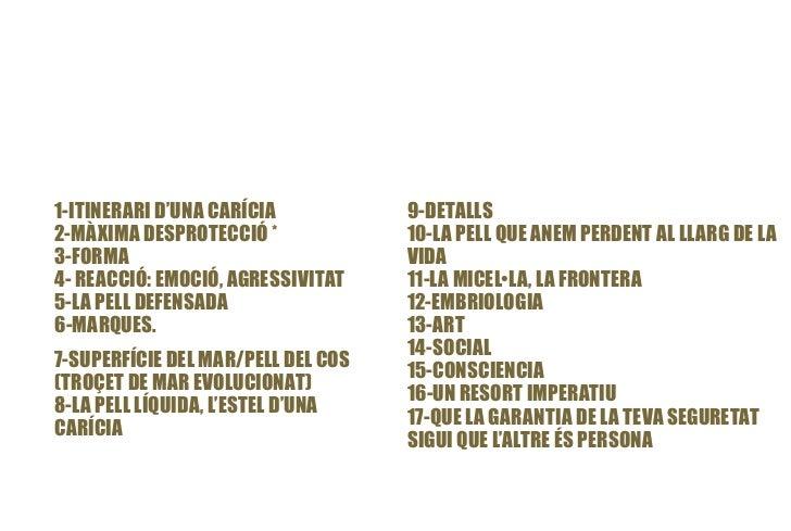 1-ITINERARI D'UNA CARÍCIA           9-DETALLS2-MÀXIMA DESPROTECCIÓ *             10-LA PELL QUE ANEM PERDENT AL LLARG DE L...