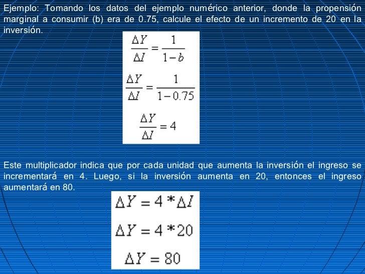 Ejemplo: Tomando los datos del ejemplo numérico anterior, donde la propensiónmarginal a consumir (b) era de 0.75, calcule ...