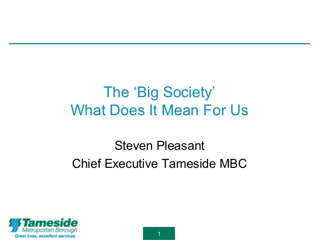 1 The 'Big Society' What Does It Mean For Us Steven Pleasant Chief Executive Tameside MBC