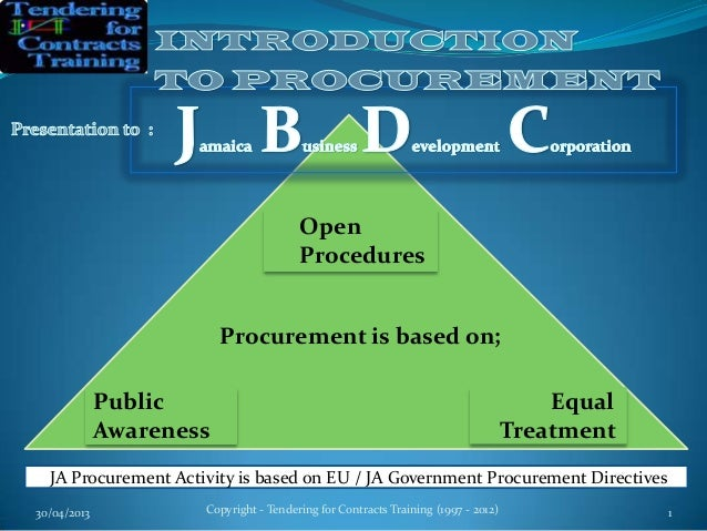 30/04/2013 Copyright - Tendering for Contracts Training (1997 - 2012) 1OpenProceduresJA Procurement Activity is based on E...