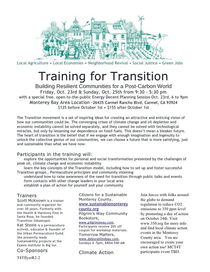 Local Agriculture • Local Economies • Neighborhood Revival • Social Justice • Green Jobs                Training for Trans...