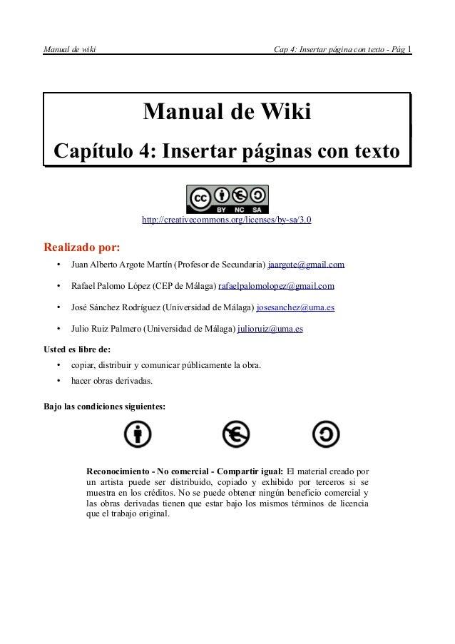 Manual de wiki                                                Cap 4: Insertar página con texto - Pág 1                    ...