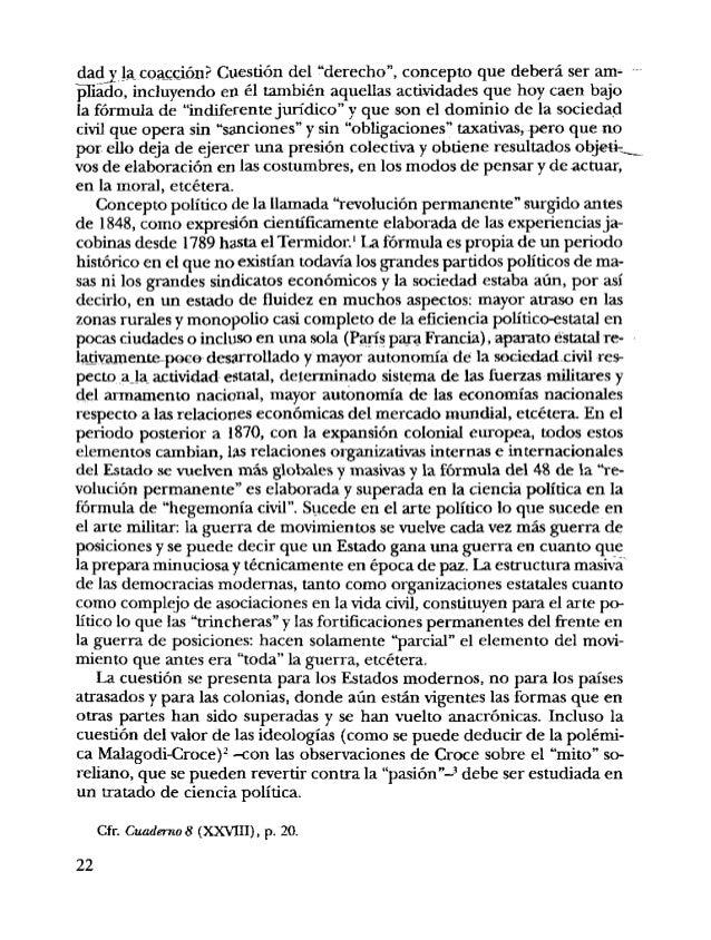 """5 <8> La concepción de Croce, de la política-pasión.' excluye los parti- dos, porque no se puede pensar en una 'pasión""""org..."""