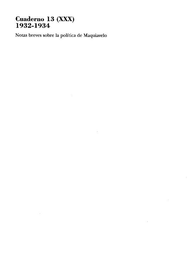 Cuaderno 13 (m) 1932-1934 Notas breves sobre la política de Maquiavelo