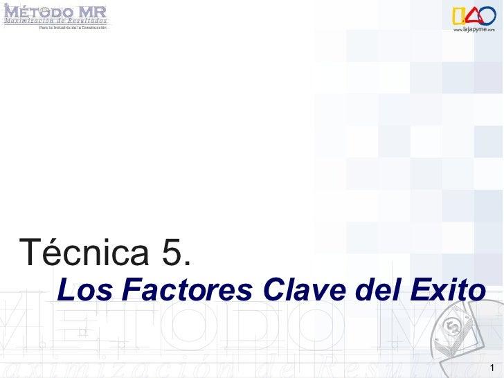 Técnica 5.   Los Factores Clave del Exito