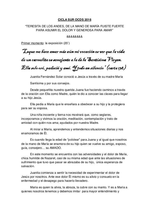 """CICLA SUR OCDS 2016 """"TERESITA DE LOS ANDES, DE LA MANO DE MARÍA FUISTE FUERTE PARA ASUMIR EL DOLOR Y GENEROSA PARA AMAR"""" &..."""
