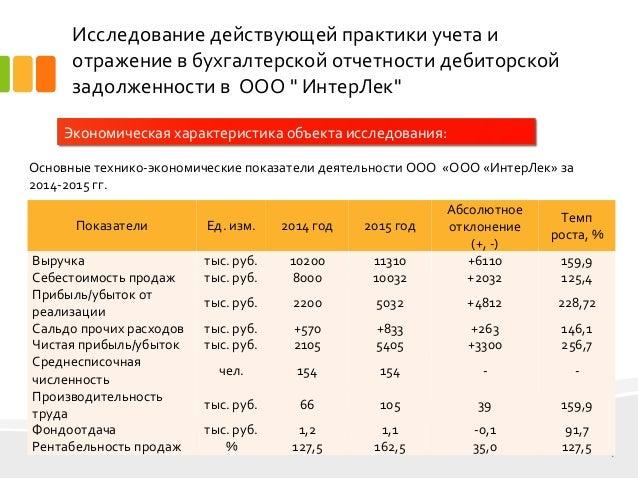 дипломная презентация по дебиторской задолженности организации  4 Исследование действующей практики учета и отражение в бухгалтерской отчетности дебиторской задолженности
