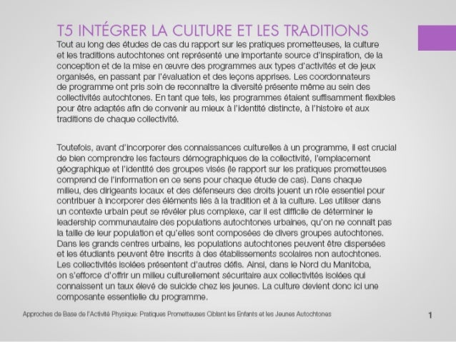 T5 intégrer la culture et les traditions