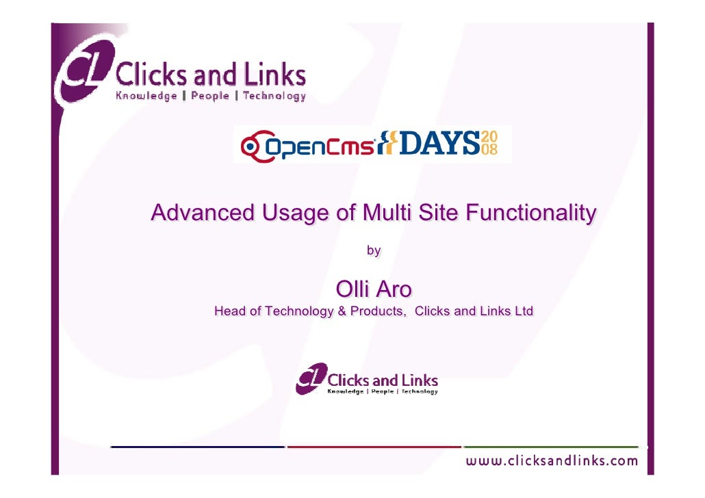 Advanced Usage of Multi Site Functionality                              by                              by                ...