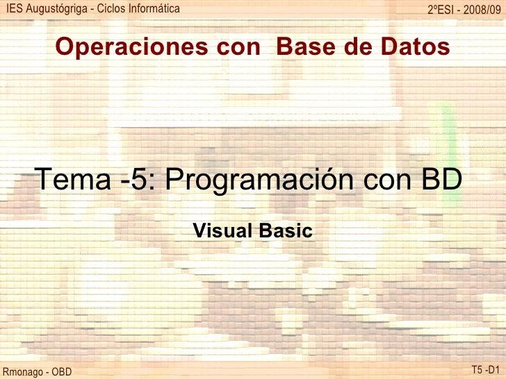 Operaciones con  Base de Datos Tema -5: Programación con BD  Visual Basic