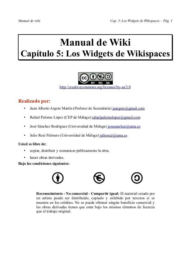 Manual de wiki                                                Cap. 5: Los Widgets de Wikispaces – Pág. 1                  ...