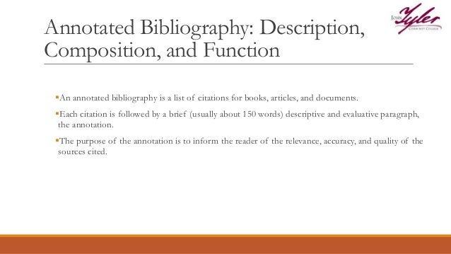 rules to annotated bibliography