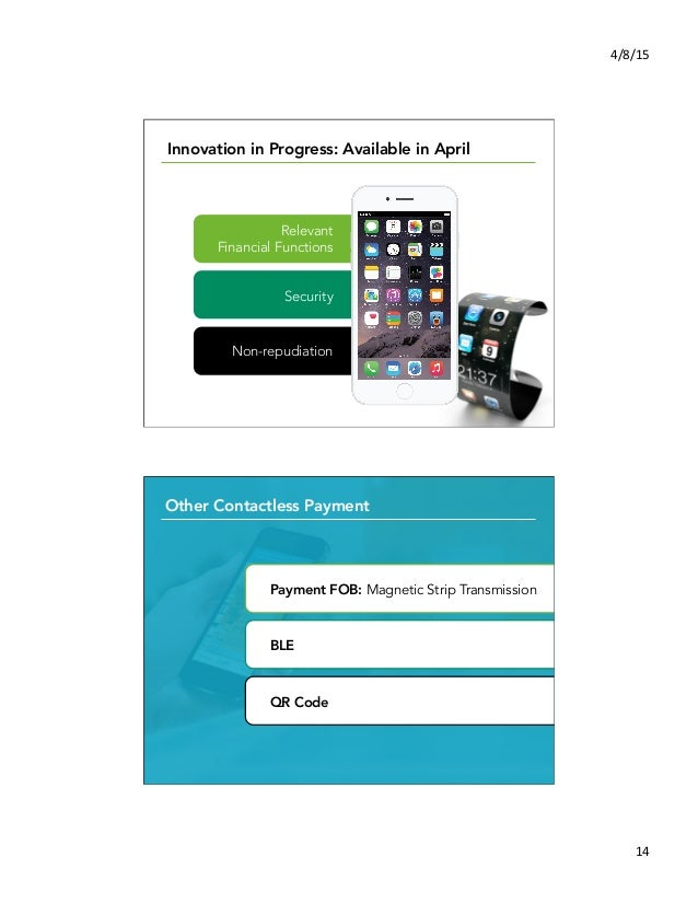 4/8/15   14   Innovation in Progress: Available in April?   Relevant Financial Functions Security Non-repudiation Ot...
