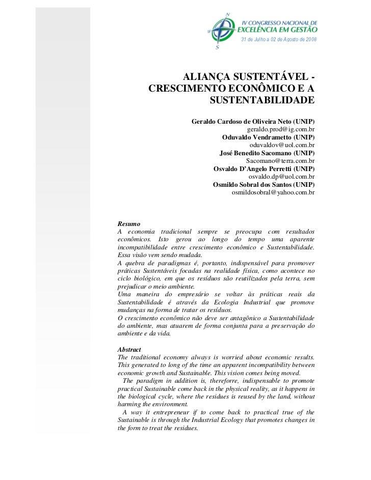 31 de Julho a 02 de Agosto de 2008                ALIANÇA SUSTENTÁVEL -           CRESCIMENTO ECONÔMICO E A               ...