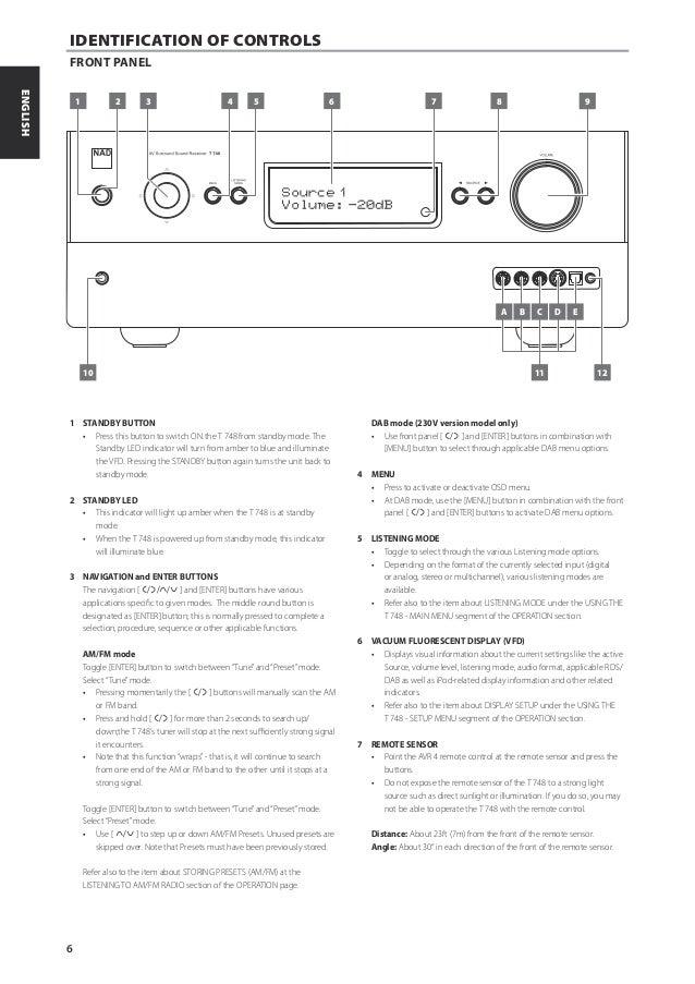 t748 a v surround sound receiver english manual rh slideshare net nad t748 v2 manual nad t748 manual svenska