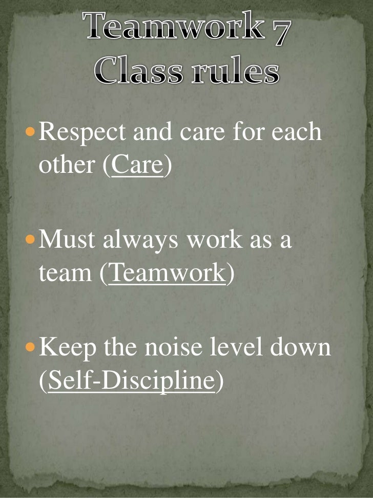  Respect and care for each other (Care) Must always work as a team (Teamwork) Keep the noise level down (Self-Discipline)