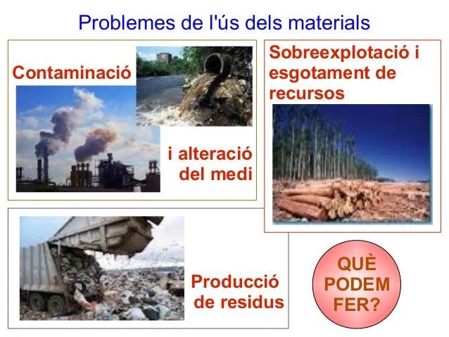 Problemes de l'ús dels materials Sobreexplotació i esgotament de recursos  Contaminació  i alteració del medi  Producció d...