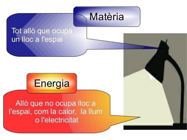 Matèria Tot allò que ocupa un lloc a l'espai  Energia Allò que no ocupa lloc a l'espai, com la calor, la llum o l'electric...