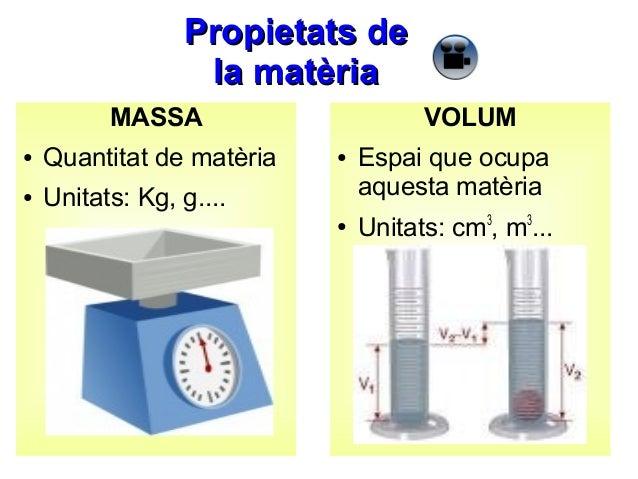 Propietats de la matèria MASSA ●  Quantitat de matèria  ●  VOLUM  Unitats: Kg, g....  ●  ●  Espai que ocupa aquesta matèri...