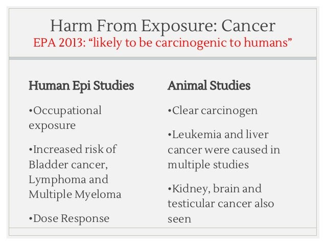 """Harm From Exposure: Cancer EPA 2013: """"likely to be carcinogenic to humans"""" Human Epi Studies •Occupational exposure •Incre..."""