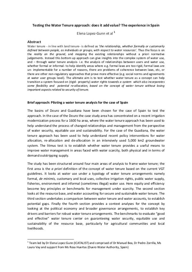 Testing the Water Tenure approach: does it add value? The experience in Spain Elena Lopez-Gunn et al 1 Abstract Water tenu...