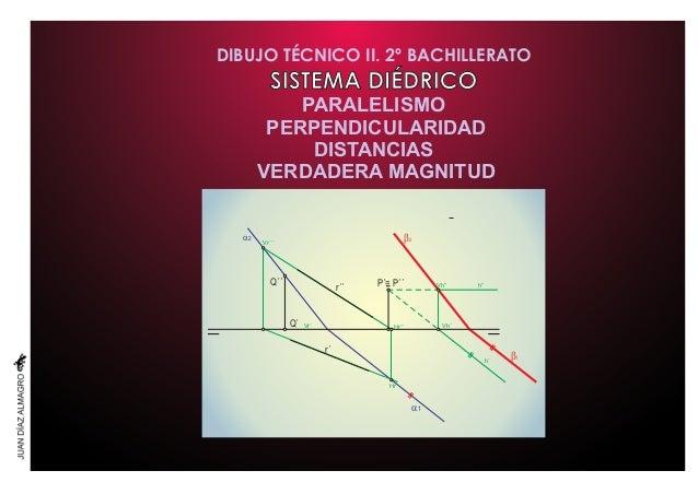 DIBUJO TÉCNICO II. 2º BACHILLERATO SISTEMA DIÉDRICO PARALELISMO PERPENDICULARIDAD DISTANCIAS VERDADERA MAGNITUD P´= P´´Q´´...