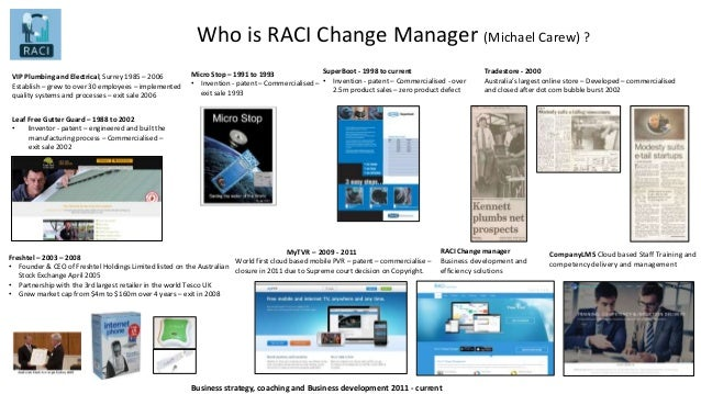 Who is RACI Change Manager (Michael Carew) ? Leaf Free Gutter Guard – 1988 to 2002 • Inventor - patent – engineered and bu...