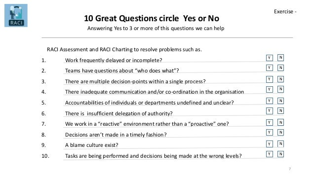 10 Great Questions circle Yes or No Answering Yes to 3 or more of this questions we can help RACI Assessment and RACI Char...