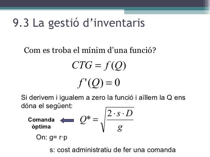 9.3 La gestió d'inventaris <ul><li>Com es troba el mínim d'una funció? </li></ul>Si derivem i igualem a zero la funció i a...