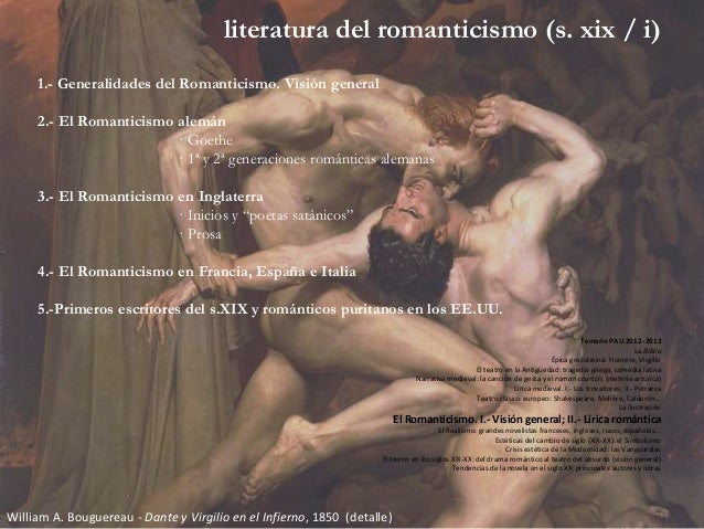 literatura del romanticismo (s. xix / i) 1.- Generalidades del Romanticismo. Visión general 2.- El Romanticismo alemán · G...