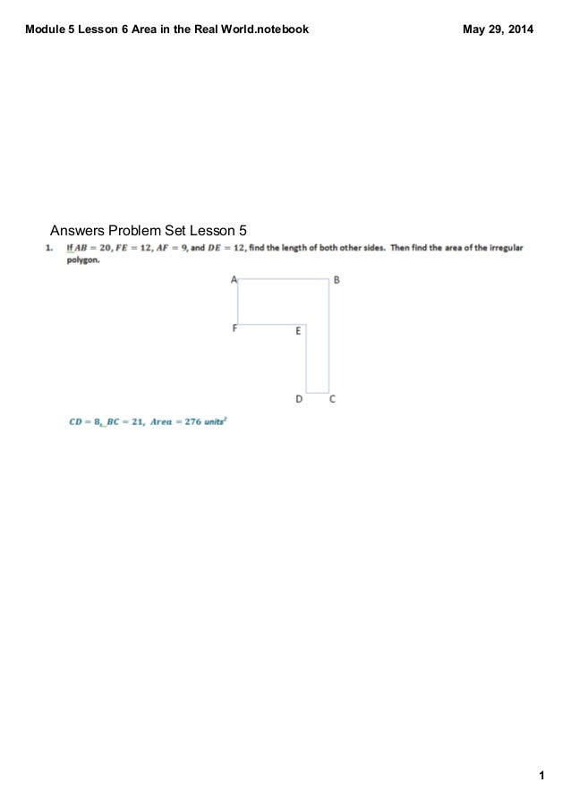 Module 5 Lesson 6 Area in the Real World.notebook 1 May 29, 2014 Answers Problem Set Lesson 5