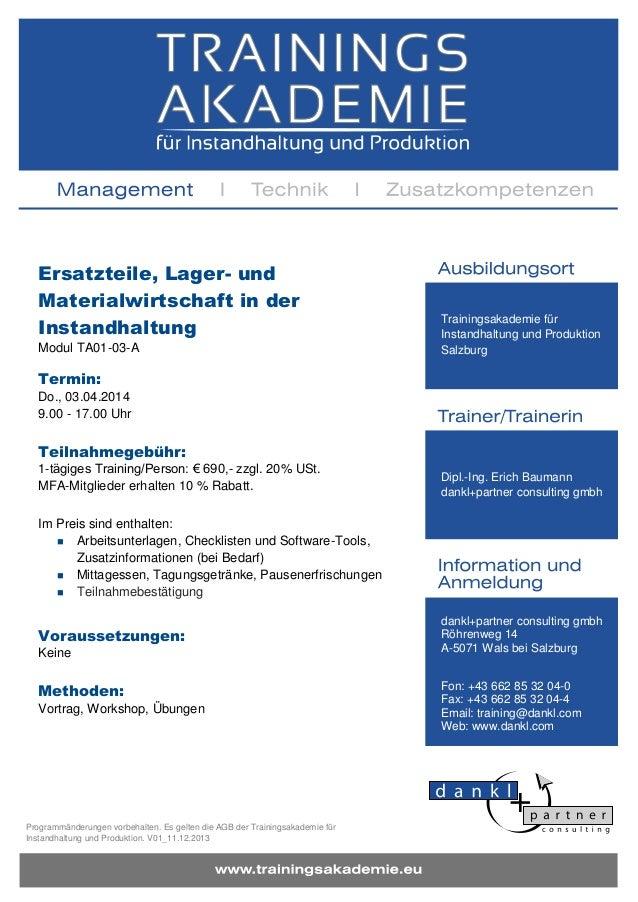 Ersatzteile, Lager- und Materialwirtschaft in der Instandhaltung Modul TA01-03-A  Trainingsakademie für Instandhaltung und...
