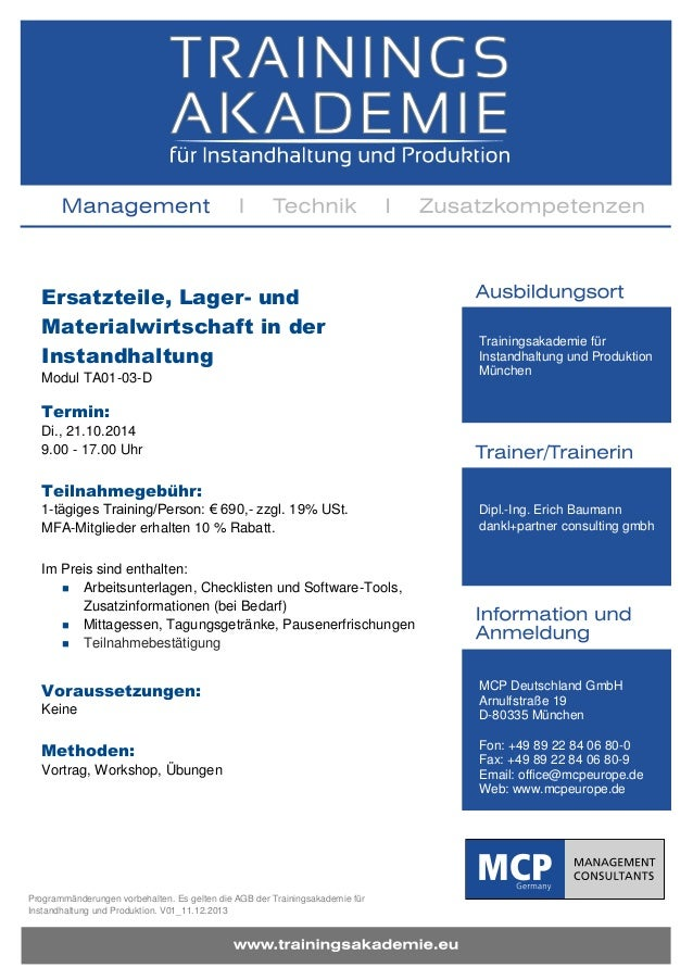 Programmänderungen vorbehalten. Es gelten die AGB der Trainingsakademie für Instandhaltung und Produktion. V01_11.12.2013 ...