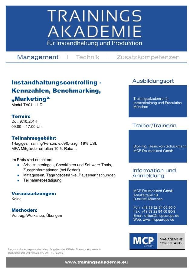"""Instandhaltungscontrolling Kennzahlen, Benchmarking, """"Marketing"""" Modul TA01-11-D  Trainingsakademie für Instandhaltung und..."""
