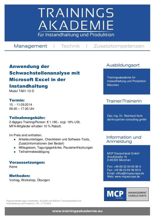 Anwendung der Schwachstellenanalyse mit Microsoft Excel in der Instandhaltung  Trainingsakademie für Instandhaltung und Pr...