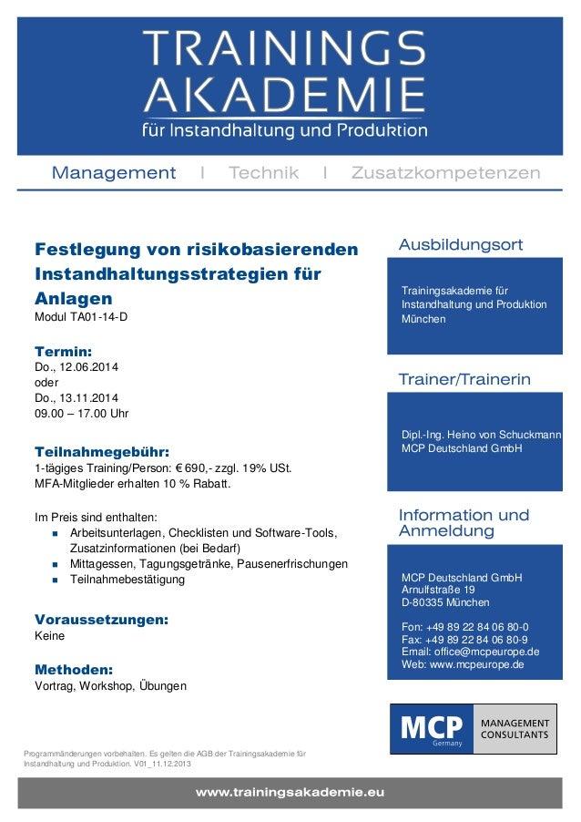 Festlegung von risikobasierenden Instandhaltungsstrategien für Anlagen Modul TA01-14-D  Trainingsakademie für Instandhaltu...
