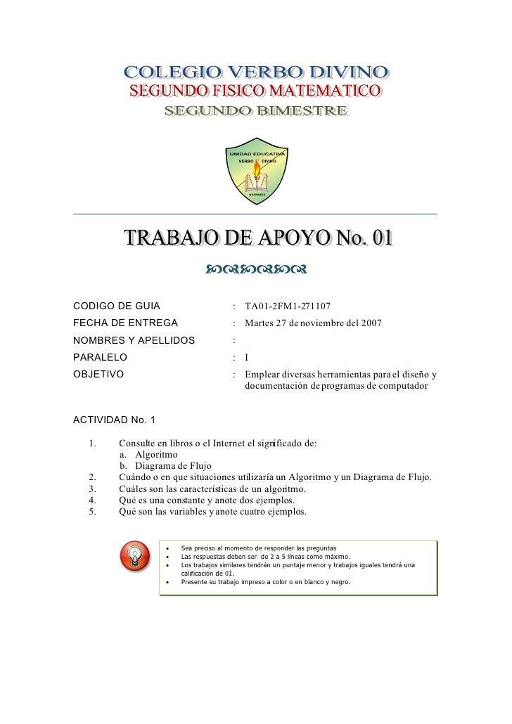   CODIGO DE GUIA                         : TA01-2FM1-271107 FECHA DE ENTREGA                       : Martes 27 de no...