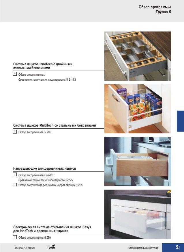 5.1Technik für Möbel Обзор программы Группа 5 Обзор программы Группа 5 Система ящиков InnoTech с двойными стальными бокови...