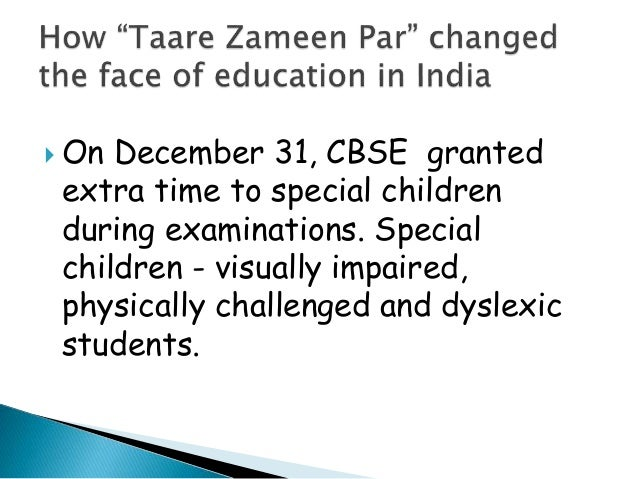 taare zameen par essay Taare zameen par unfolds the world of a child and his problems a caring  teacher helps the protagonist find his treasure trove of talents.